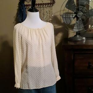 J. Crew Swiss Dot Cream popover blouse, 8